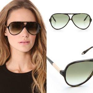 eb5292bd7d3 Victoria Beckham Green Keyhole Aviator Sunglasses